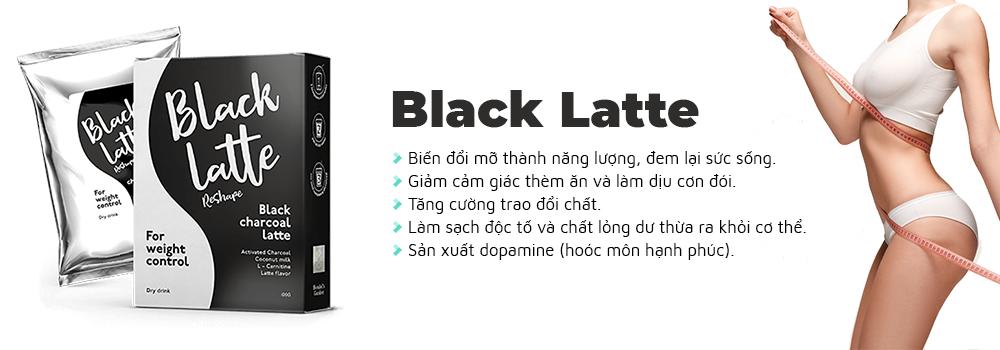 Giảm cân Black Latte an toàn chiết xuất từ than hoạt tính