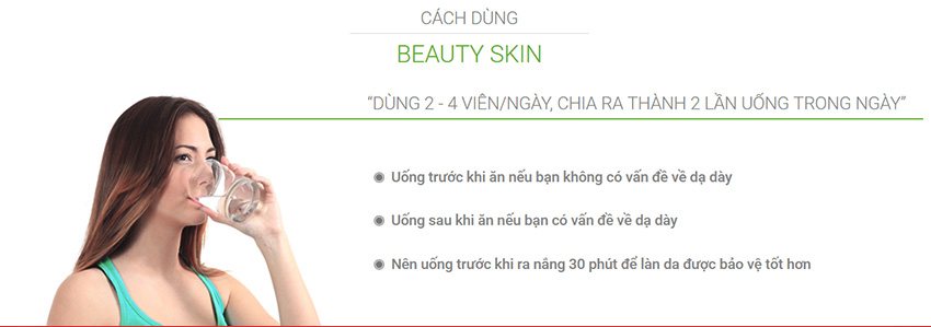Cách dùng viên uống trắng da Beauty Skin