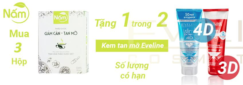 Mua 3 hộp trà giảm cân Nấm được tặng ngay Kem tan mỡ Eveline