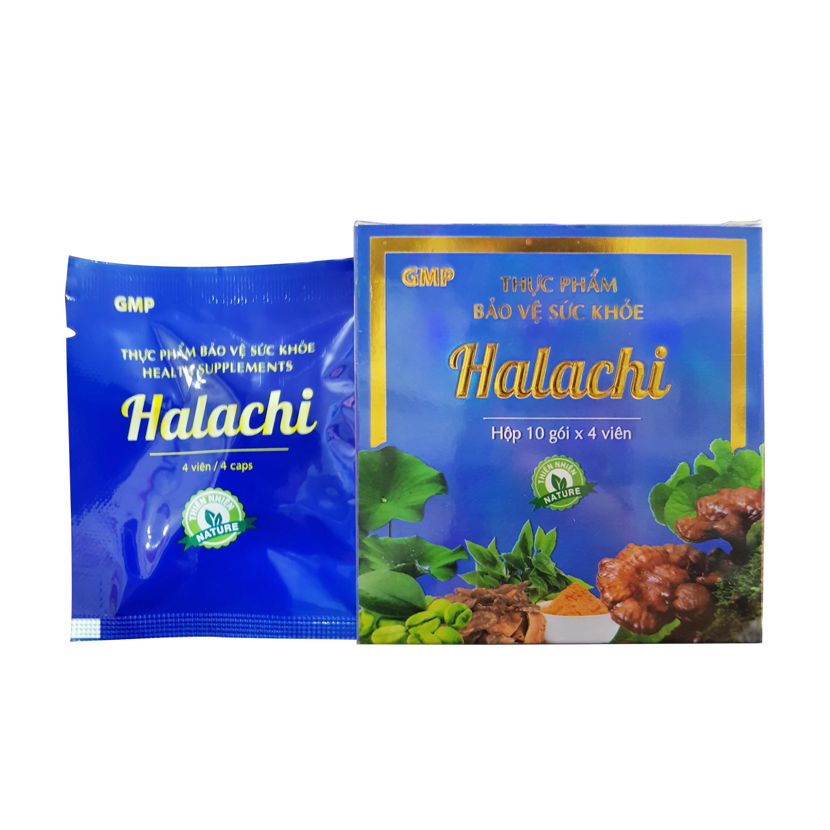 Viên uống giảm cân Halachi, Mộc Hoa Tràm, Hộp 10 gói x 4 viên